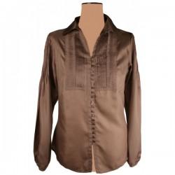 Betty Jackson - Ribbed Silk Shirt Top Sz. 14