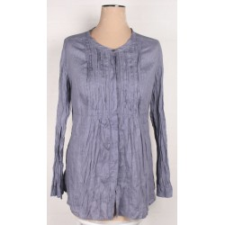 POETRY - Ramie crinkle Lagenlook tunic smock top Sz. 14