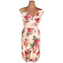Joules - Julia Pink Floral Crème Pencil Dress Sz. 14