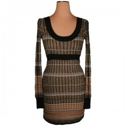 Oasis - Black & Gold Fitted Dress  Sz. 8